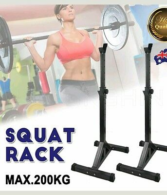 NEW 2pcs Squat Rack Stand Bench Press Barbell Weight Lifting Fitness Gym Home OZ
