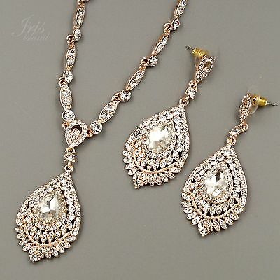 ROSE GOLD Plated Clear Crystal Necklace Pendant Earrings Wedding Jewelry Set 623