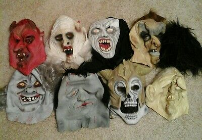 Lot Of 8 Latex Rubber Halloween Masks
