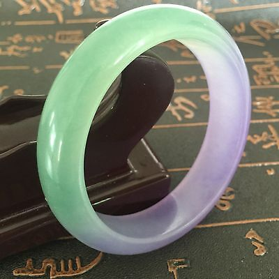 Very Fine Rare Natural Green Yellow White Jadeite Jade Bracelet Bangle 60Mm