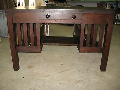 Arts & Crafts Oak Mission Library Table / Desk / Bookcase / Drafting / Vintage