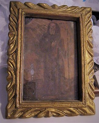 Original Antique Retablo On Tin San Francisco De Paula Framed Glas Front