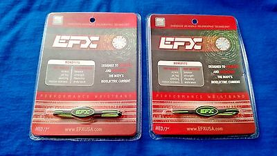 EFX Bracelet Wristband LOT OF 2 / Golf /Sports/Authentic!! Black/Green Oval 7""