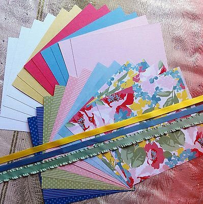 STAMPIN' UP! & MIXED FLORAL PLAIN CARD PAPER RIBBON PACK CARD MAKING 24 SHTS 6x6