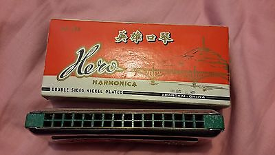 harmonica hero 076 genuine vintage double sided double hole rows