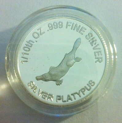 """1/10th Oz 999.0 Pure Silver Bullion Coin, """"Platypus"""" (Aust Series) 14 to Collect"""