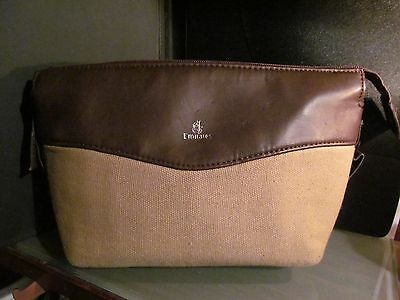 EMIRATES AIRLINES canvas leather First Class amenity kit bag make up dopp travel