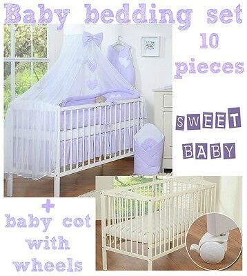 Baby Cot + Wheels Baby Bedding Set Mattress A Lot Of Colours Available!