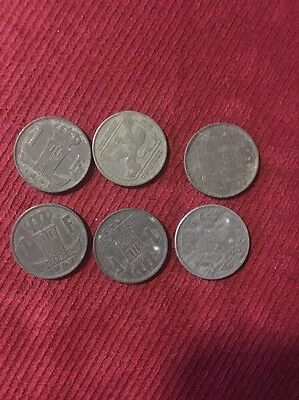 6-COINS FROM BELGIUM 1942,19411943,1941,1943,1945 1f