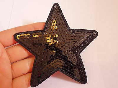 large sequin patches star black patch applique iron on sew on motif badge UK