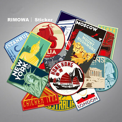 SET of 16 Vintage Luggage Labels & Rimowa World Tour Vinyl Decal Stickers