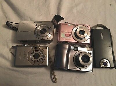 Lot of 5 Mixed Digital Cameras Untested (Sony,Casio,Canon,Olympus)plus 1 Case