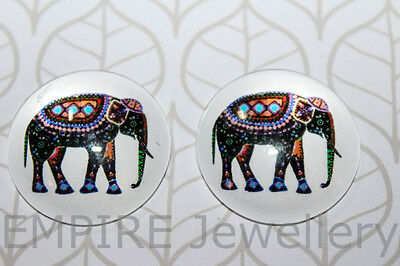 1 x Patterned Elephant 2x25mm Glass Dome Cabochon Cameo Africa