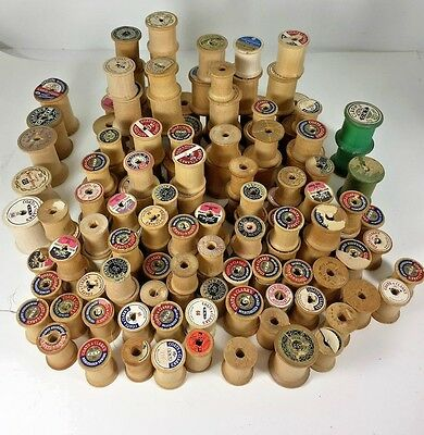 Vtg.136 Assorted Brands Hour  Wooden Thread Spools Primitive Craft
