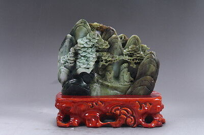 Exquisite 100% Natural DUSHAN Jade Hand Carved Moutain & Man Statue db26
