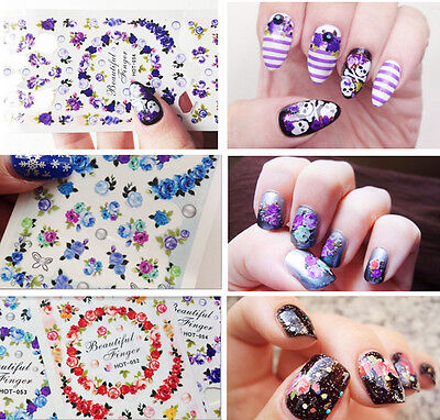 Water Decals Elegant Colorful Rose Theme Nail Art Transfer Stickers Tips