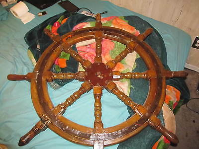 """old antique vintage imperial russian military navy sail ship wood wheel helm 41"""""""