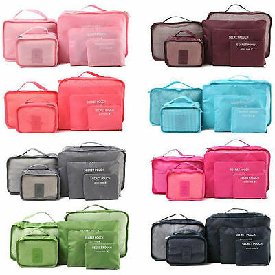 Portable 6pcs Travel Storage Bags Clothes Luggage Organizer Pouch Packing Cube