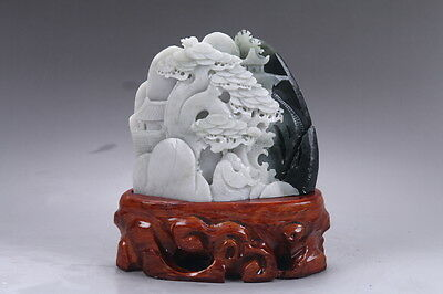 Exquisite 100% Natural DUSHAN Jade Hand Carved Moutain & Man Statue y98