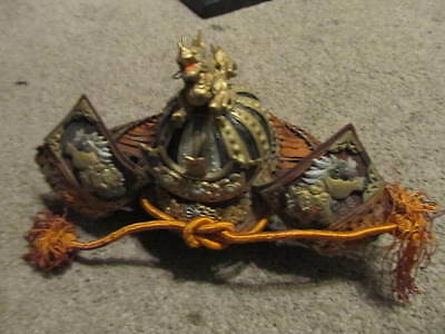 old antique vintage japanese japan mini small samurai helmet with dragon armor