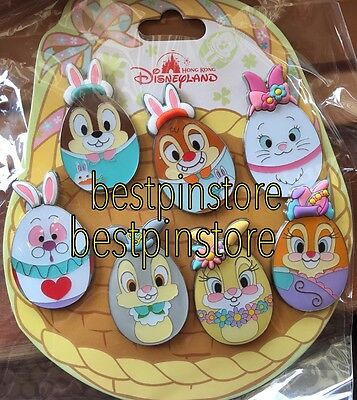 Disney pin HKDL 2017 Easter 7 Pins Set White Rabbit Marie Thumper Miss Bunny CD