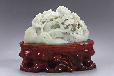 Exquisite 100% Natural DUSHAN Jade Hand Carved Moutain & Man Statue y161