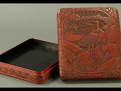Japanese Lacquerware Red Inkstone Box w/ Cranes & Pines Carved in Relief: BA852