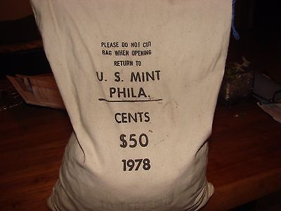 bank sewed Bag 1978 cents, 5000 coins, never opened