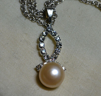 Vintage Sterling Silver pendant, chain, genuine large South Sea Pearl