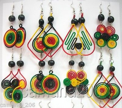 Lot Of 12 Earrings Rasta Colors Surf Reggae **handmade**