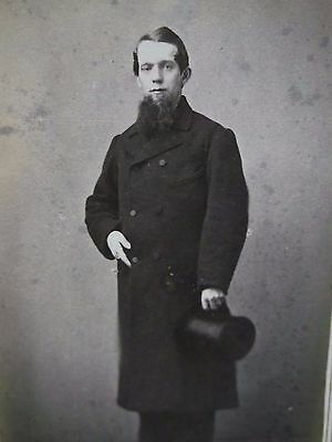 1800's Antique CDV Photo-Handsome Man,Bushy Beard,Long Coat,Top Hat-Rochester,NY