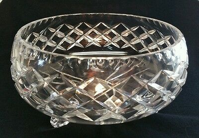 Classic Lead Crystal Diamond Cut Tri Cabriole Leg Bowl