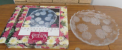 """Beautiful Studios, Crystal Clear Frosted, 13"""" Round Platter.  Neer Used"""