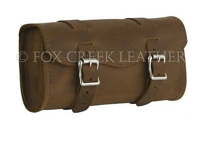 Motorcycle Saddle Bag Heavy Duty Distressed Brown Toolbag Fox Creek Leather