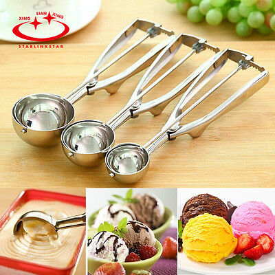 3 Size Summer Ice Cream Spoon Stainless Steel Handle Masher Cookie Scoop Tools