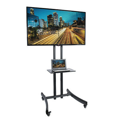 "Rolling TV Cart Stand Mount w/ Wheels Mobile for 32""- 65"" LED LCD Flat Screen bi"