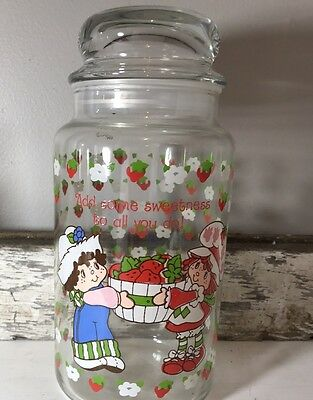 Strawberry shortcake Vintage glass jar With bubble Suctioned Lid