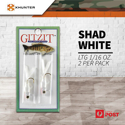 Gitzit Shad White. 1/16 oz. 2 per pack Pocket Fishing Lures Pack Soft Baits