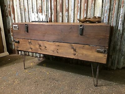 Vintage wooden Trunk Chest Table Rustic Industrial Sideboard Tv Stand upcycled