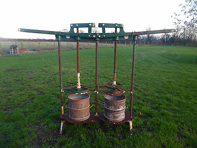 Antique / Vintage Original Cast Iron Cheese /Apple / Cider Press with Buckets