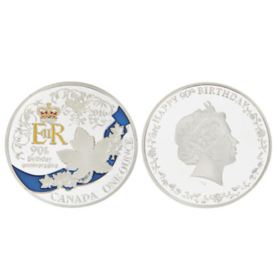 Hot Queen's 90th Birthday Silver Plated Commemorative Coin Art Collectible UK