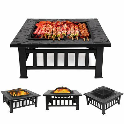 Outdoor Fire Pit Firepit Patio Heater Brazier Garden Square Stove Chimney BBQ UK