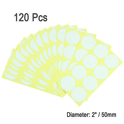 "120Pcs 2"" White Round Code Dot Blank Stickers Adhesive Sticky Labels Home Decor"