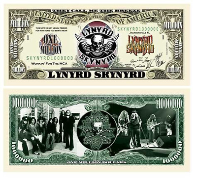Lynyrd Skynyrd Million Dollar Bill With Bill Protector