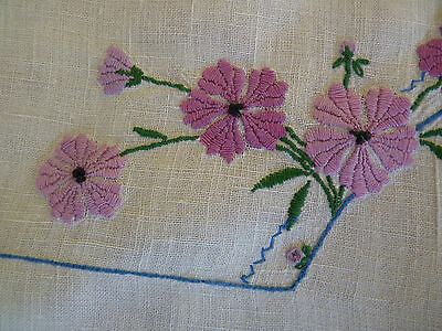 GORGEOUS BREAKFAST CLOTH Hand Embroidered Mauve & Blue on White Linen