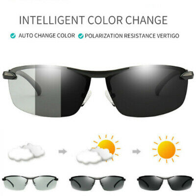 Mens Sunglasses Polarized Lens Transition Photochromatic UV400 Driving Glasses