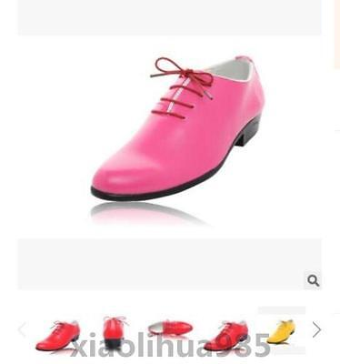 Mens Lace Up Pu Leather Low Heels Wedding Dress Formal Dance Show Shoes Pink UK9