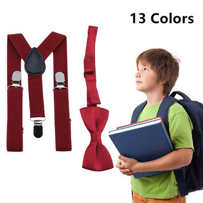 Polyester Kids Design Suspenders and Bowtie Bow Tie Set Matching Ties Outfits TH