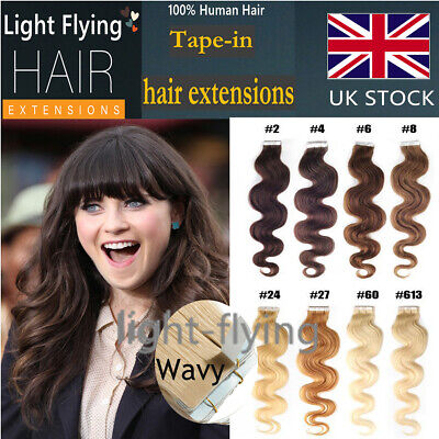 18'' Body Wavy 7A Remy Tape In Skin 100%Human Hair Extensions 20pcs 40g UK Stock
