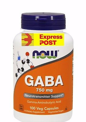 Now Foods, GABA, 750mg, 100 Capsules 750 MG  Natural Calming Effect